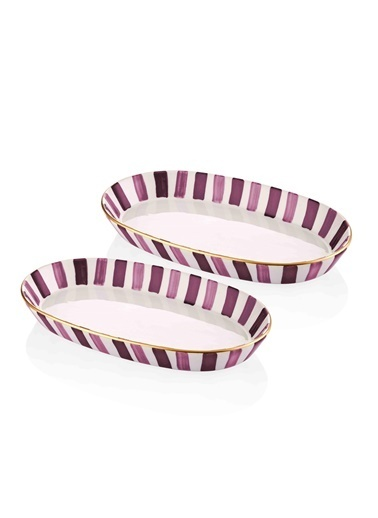 The Mia Fez Oval Servis - 2li Set - 17 x 30 x 4 Cm Mor Mor